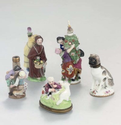 TWO MEISSEN SCENT-BOTTLES, TWO