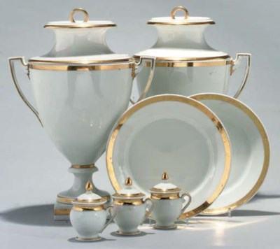 A FRENCH PORCELAIN WHITE AND G