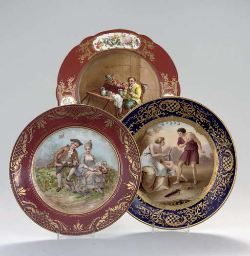 A GROUP OF THREE SEVRES AND VI