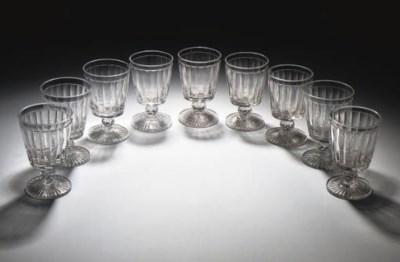 NINE CUT-GLASS RUMMERS