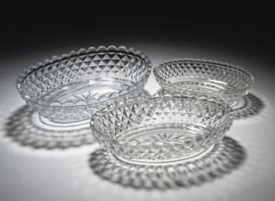 A SET OF THREE CUT-GLASS OVAL
