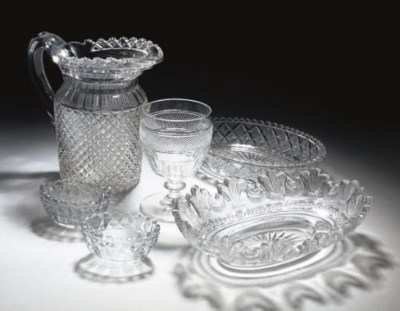 A CUT-GLASS WATER-JUG AND OTHE