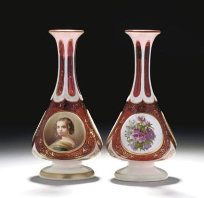 A PAIR OF RUBY AND WHITE OVERL