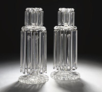 A PAIR OF CUT CANDLESTICK LUST