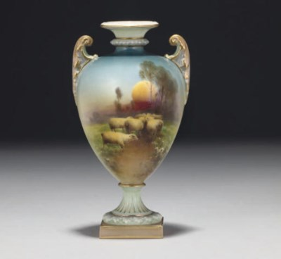 A ROYAL WORCESTER OVIFORM TWO-