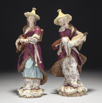 A PAIR OF MEISSEN FIGURES OF M