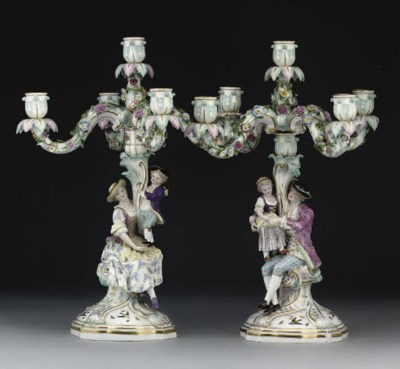 A PAIR OF MEISSEN FIVE-LIGHT C