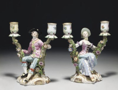A PAIR OF MEISSEN TWIN-LIGHT F