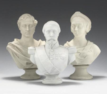 THREE ENGLISH PARIAN BUSTS