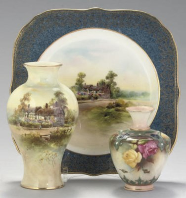A ROYAL WORCESTER PLATE AND FI