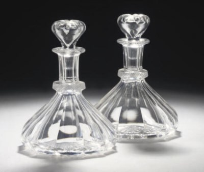 A PAIR OF FACETED SHIP'S DECAN