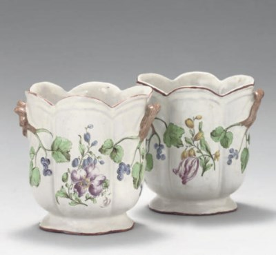 A PAIR OF FRENCH FAIENCE SEAUX