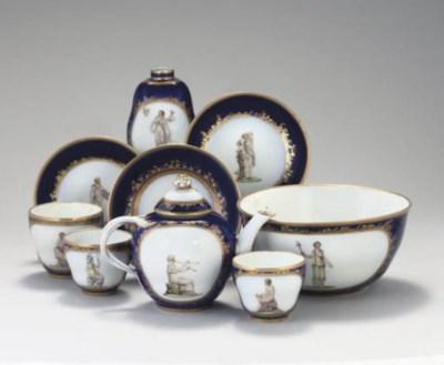 A BERLIN BLUE-GROUND PART TEA
