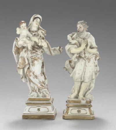 TWO MEISSEN WHITE AND GILT FIG
