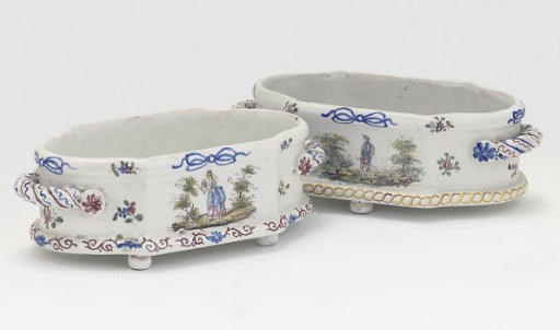 TWO FRENCH FAIENCE TWO-HANDLED