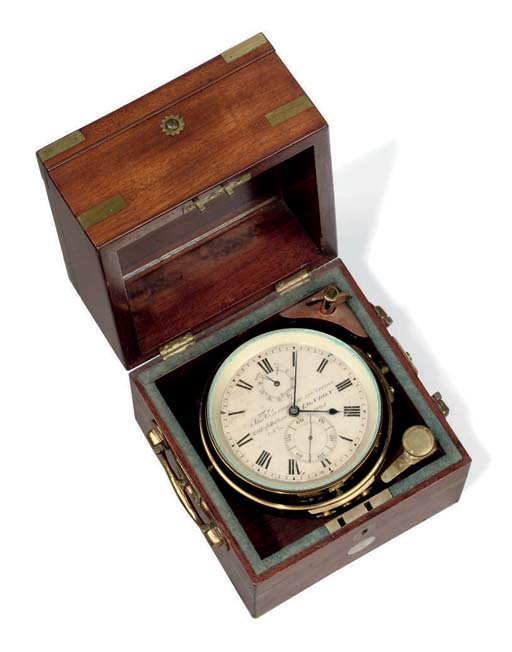 A Victorian brass-mounted mahogany two-day marine chronometer