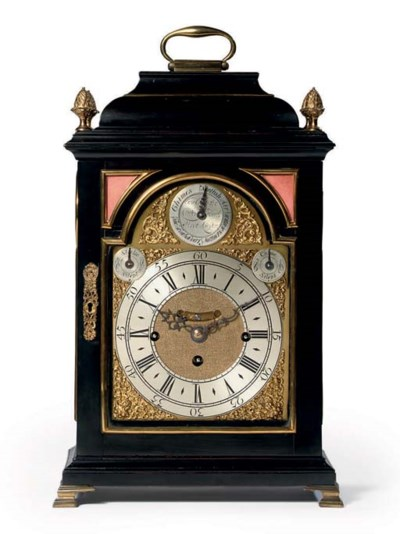 An English ebonised and brass-