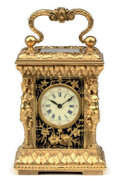 A French miniature gilt-brass