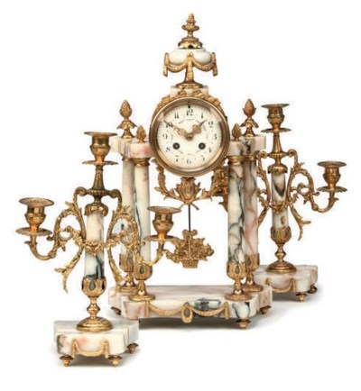 A French marble and ormolu-mou