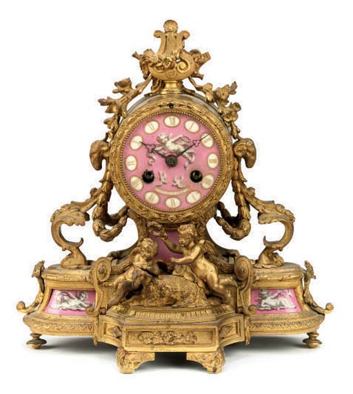A French gilt-metal and porcel