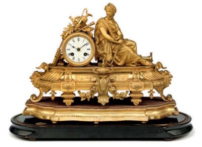 A French gilt-metal eight day