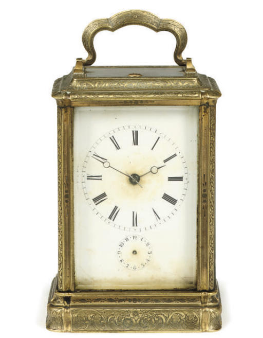 A French engraved brass eight day striking and repeating carriage clock with alarm
