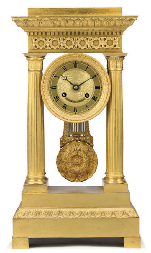 A Louis Philippe ormolu eight day striking portico clock