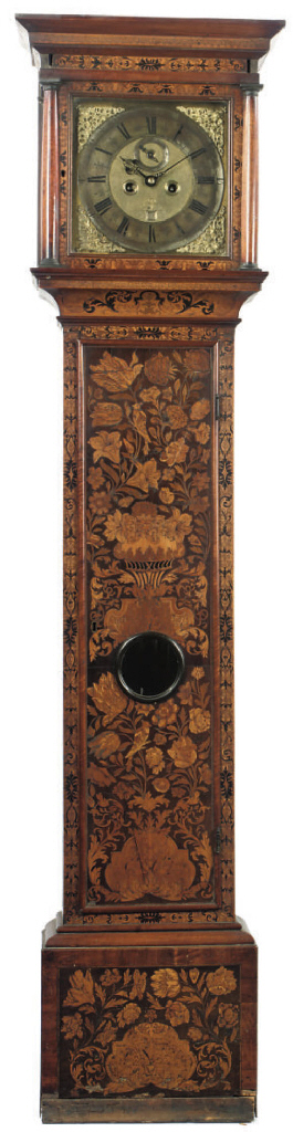 An English walnut and marquetry eight day longcase clock