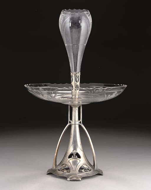 A WMF SILVERED METAL AND ENGRAVED GLASS CENTREPIECE