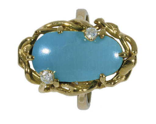 A GOLD COLOURED METAL TURQUOIS