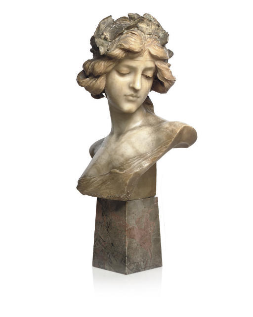 A CARVED ALABASTER BUST, c1900