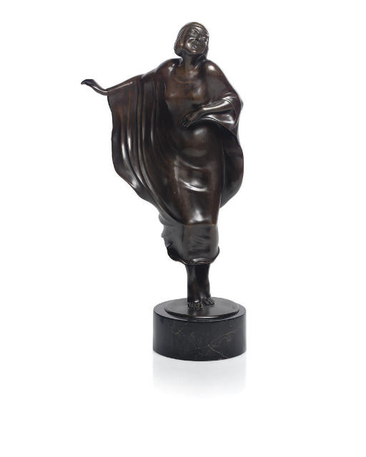 A PATINATED BRONZE OF A WOMAN