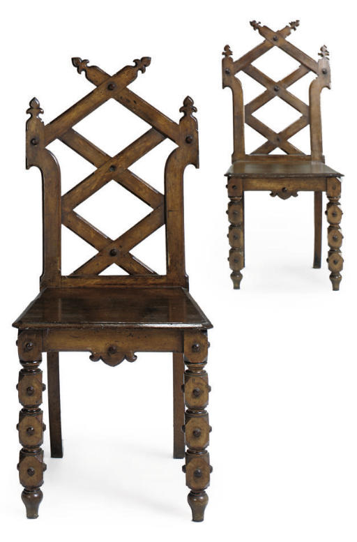 PAIR OF GOTHIC REVIVAL HALL CH