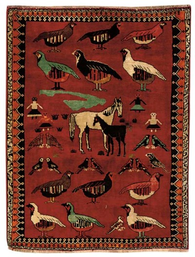 A fine unusual Gabeh rug, Sout