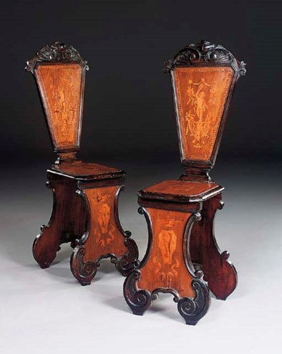 A PAIR OF MILANESE WALNUT AND