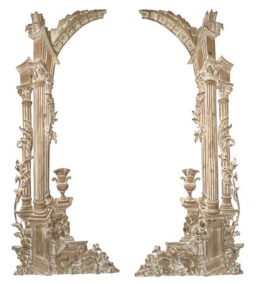 A PAIR OF CARVED PINE ARCHITEC
