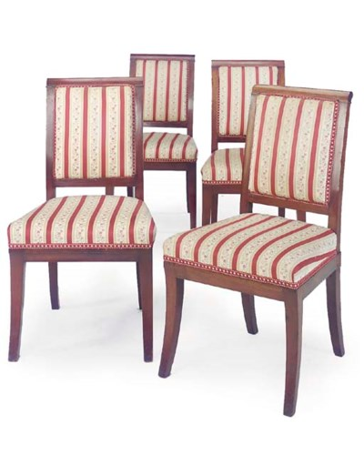 A SET OF FOUR MAHOGANY AND UPH