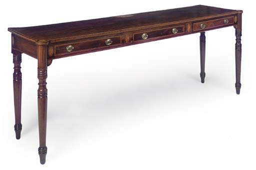 A GEORGE III MAHOGANY AND MARQ
