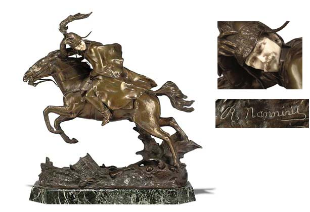 A BRONZE AND IVORY EQUESTRIAN