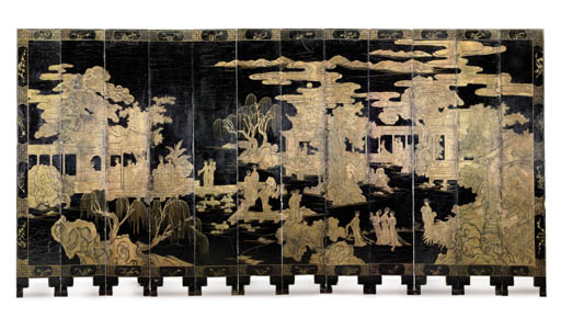 A CHINESE BLACK LACQUER AND GI