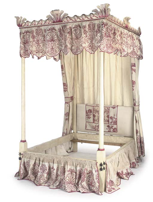 A CREAM-PAINTED FOUR-POSTER BE