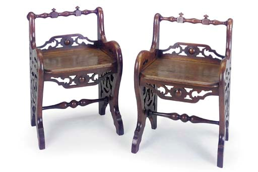 A PAIR OF VICTORIAN OAK HALL S