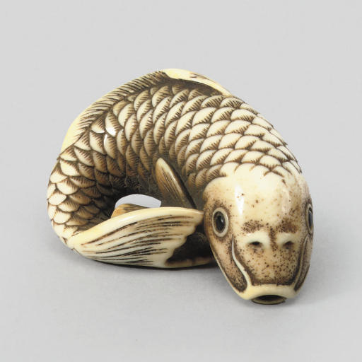 An ivory model of a carp, 19th