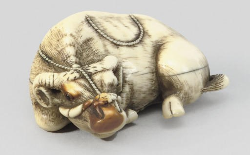 An ivory model of a recumbent