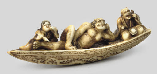 An ivory group of a giant oni,