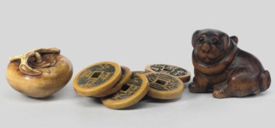 Two Ivory and one wood netsuke