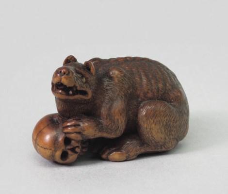 A boxwood study of a yamainu,