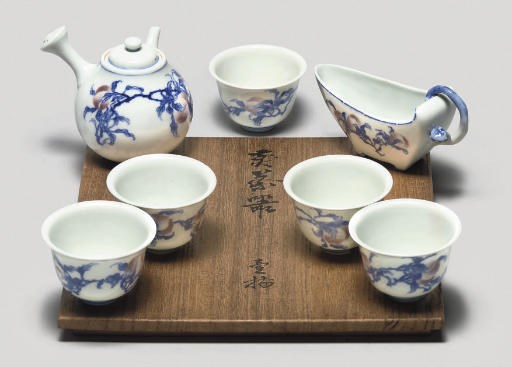 An underglaze blue and red tea