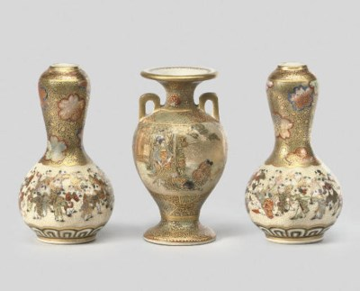 Three miniature satsuma vases,