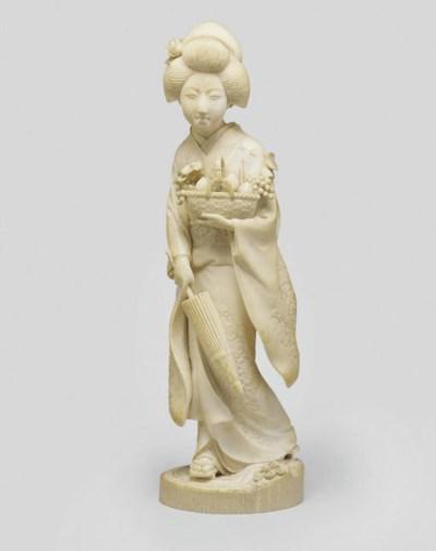 An ivory okimono of a Bijin, M